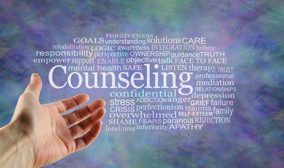 Counseling Word Tag Cloud - open palm hand gesturing towards a Counseling word cloud on a rustic blue modern background