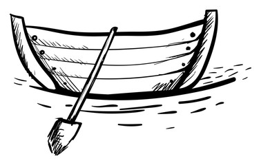 Boat drawing, illustration, vector on white background.