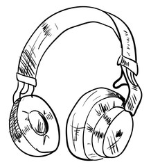 Headphones drawing, illustration, vector on white background.