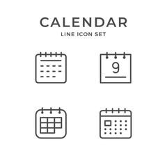 Set line icons of calendar