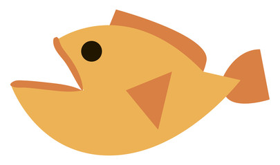 Yellow ugly fish, illustration, vector on white background.