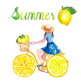 Watercolor cute yellow bicycle with lemon wheels. Summer bike ride illustration with yong girl and lemons on white background. Cartoon