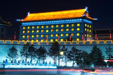 archery tower at night xian city wall Fototapete