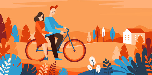 Vector cartoon illustration in simple style with characters - happy couple riding bicycle in the park