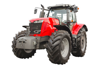 Big red agricultural tractor isolated on a white background Wall mural