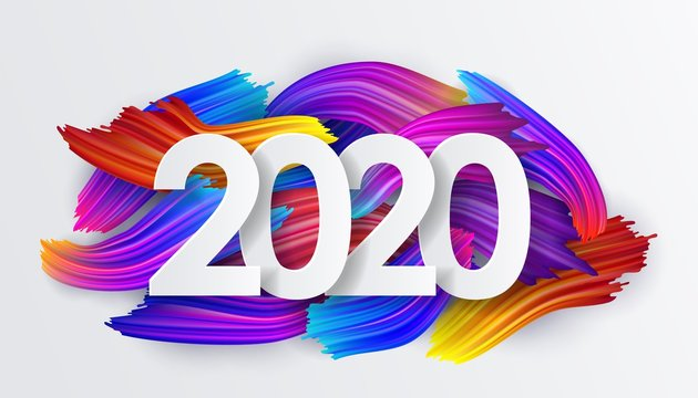 2020 New Year background of colorful brushstrokes of oil or acrylic paint