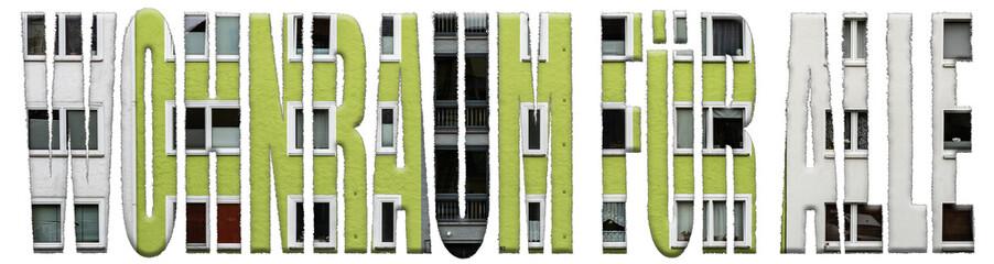 Wohnraum für alle Motto Strukturschrift