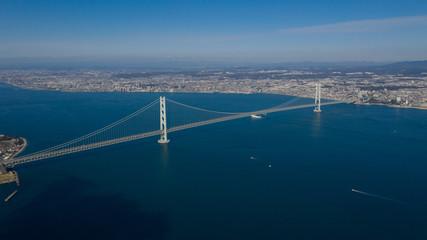 明石海峡大橋 空撮 ドローン DJI 景色 写真素材