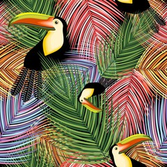 Toucans and Palm Leaves vector Seamless Textile Pattern Design