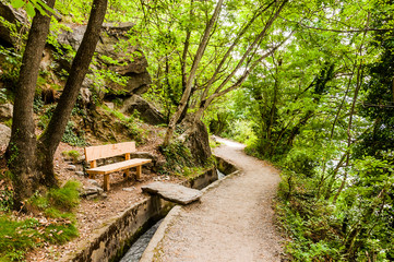 Algund, Waalweg, Wanderweg, Wald, Wasserversorgung, Vinschgau, Südtirol, Sommer
