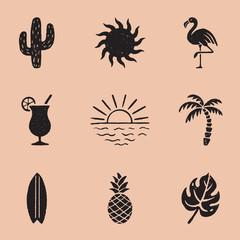 Vintage Summer Icon Illustrations