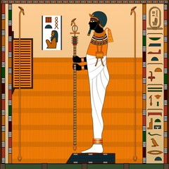 Religion of Ancient Egypt. Ancient Egyptian god Ptah. God-creator, patron of artists and craftsmen. Vector illustration.