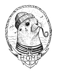Sea lionl with a smoking pipe in a sailor suit. Prints for T-shirts. Tattoo sketch.