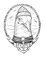 Seagull in a sailor suit. Hand drawn illustration converted to vector. Prints for T-shirts. Tattoo sketch.