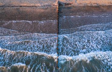 Sea Waves Breaking on Wooden Breakwater, Aerial Fototapete