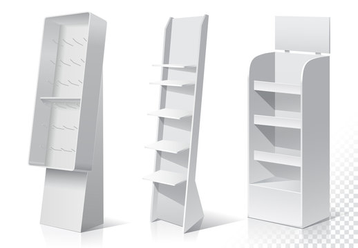 White Empty Displays With Shelves Products.Display on Isolated white background. Mock-up template. Product Packing Vector