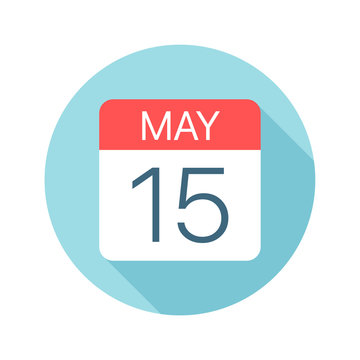 May 15 - Calendar Icon. Vector illustration of one day of month