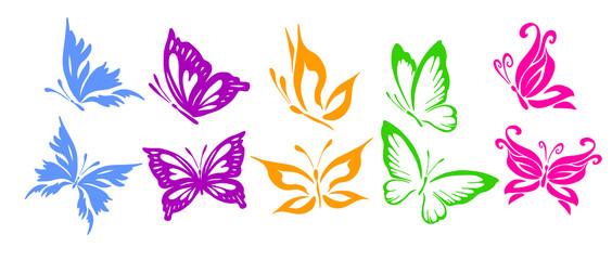 A set of logo butterflies. A butterfly logo made of patterns. Vector illustration.