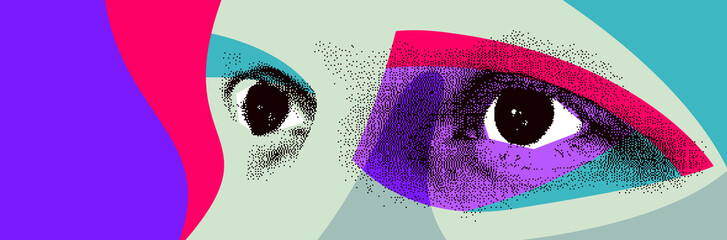 Looking eyes 8 bit dotted design style vector abstraction, human face stylized design element, with colorful splats.