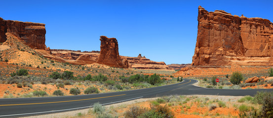 Arches national park scenic by way panoramic view