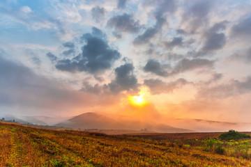 Foto auf Leinwand Camping Morning sunrise