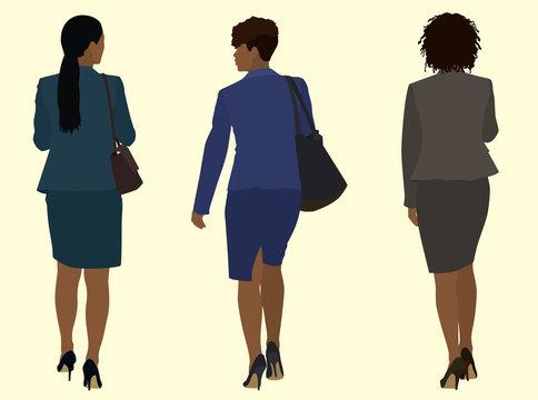 Black African business women walking Away