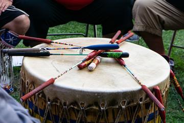 Native American drums for Powwow, United Tribes Powwow, Bismarck, North Dakota