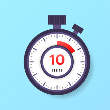 The 10 minutes timer. Stopwatch icon in flat style.