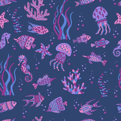 Abstract seamless pattern with sea fish