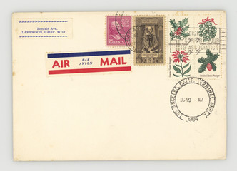 Briefmarken stamps Umschlag Envelope retro vintage United States Japan air mail Luftpost alt Weihnachten Shakespeare William McKinley 25 cents Mistletoe Holly Spring of Conifer Poinsetta California