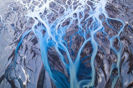 Aerial view of glacier river system in Iceland. Beautiful natural backdrop.