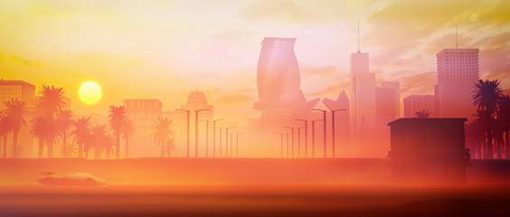 stylized retro city skyline at panorama sunset