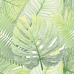 Foto op Canvas Tropische Bladeren Seamless pattern with tropical leaf palm . Vector illustration.