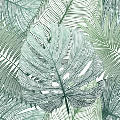 Poster Tropical Leaves Seamless pattern with tropical leaf palm . Vector illustration.