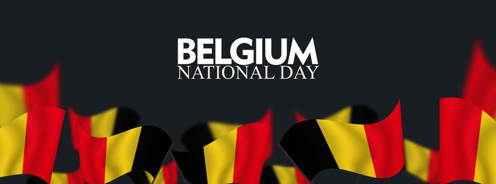 Belgium National Day, July 21, waving flag background