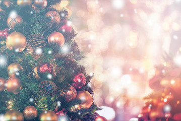 Christmas Background with bokeh light; Blurred Xmas background