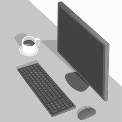 Desktop computer and Coffee cup