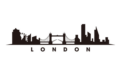 Wall Mural - London skyline and landmarks silhouette vector