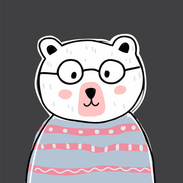Cute bear character with glasses. Vector illustration for birthday invitation,postcard and sticker