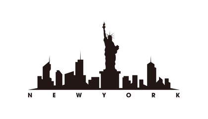 Wall Mural - New York skyline and landmarks silhouette vector
