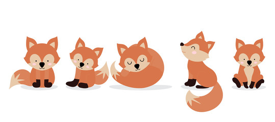Cute fox character are standing,sitting and sleeping. Vector illustration for birthday invitation,postcard and sticker.Editable element