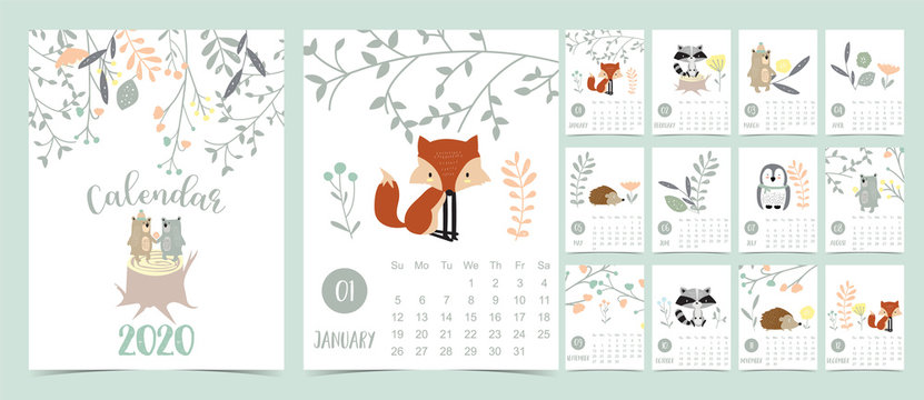 Doodle pastel woodland calendar set 2020 with fox,porcupine,penguin,bear,skunk,flower,leaves for children.Can be used for printable graphic.Editable element