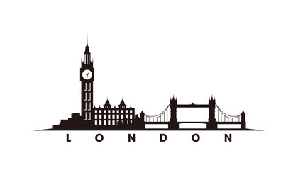 Fotomurales - London skyline and landmarks silhouette vector