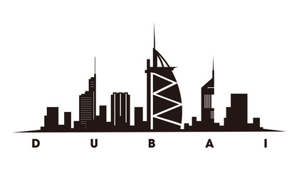 Wall Mural - Dubai skyline and landmarks silhouette vector