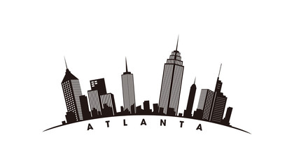Wall Mural - Atlanta skyline and landmarks silhouette vector