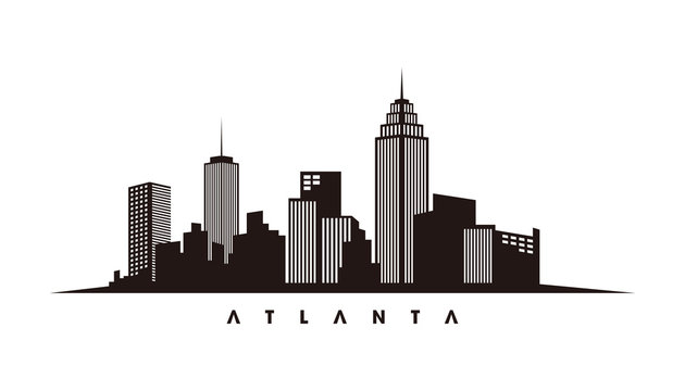 Atlanta skyline and landmarks silhouette vector