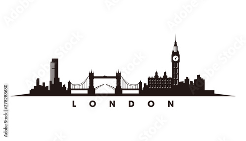 Fotomurales London skyline and landmarks silhouette vector