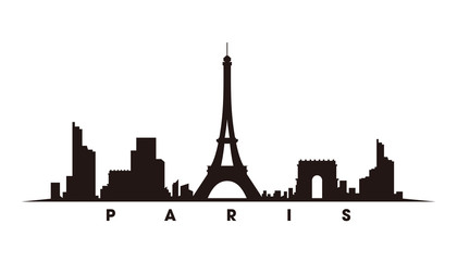 Wall Mural - Paris skyline and landmarks silhouette vector