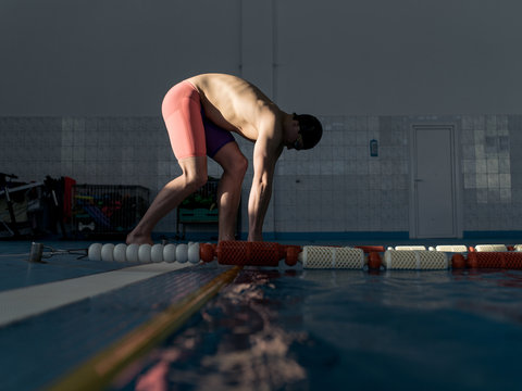Man prepared to jump into water