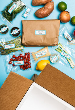 Empty Box With Ingredients For Meal Kit